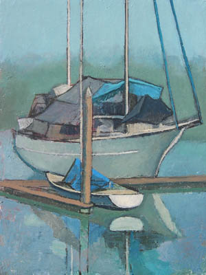 Fishing boat painting by Mary Ann Runciman - blues