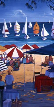'Canvas in the Wind' - scene on Four Mile Beach during a yacht race.