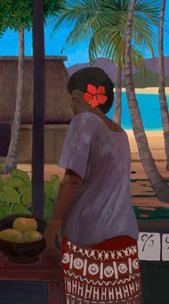 Fiji Islander with red hibiscus in his hair looks through coconut palms to a small hut on the beach.