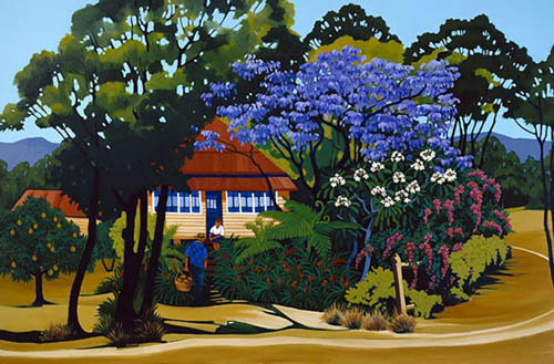 The purple-blue of a jackaranda tree in flower shades and frames a Queenslander house.