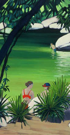 Painting of Mossman Gorge, two swimmers in the forground, green water and grey rocks beyond.