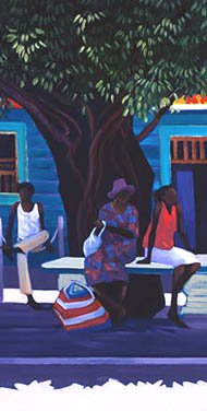 Indigenous shoppers rest under a tree in the centre of Mossman