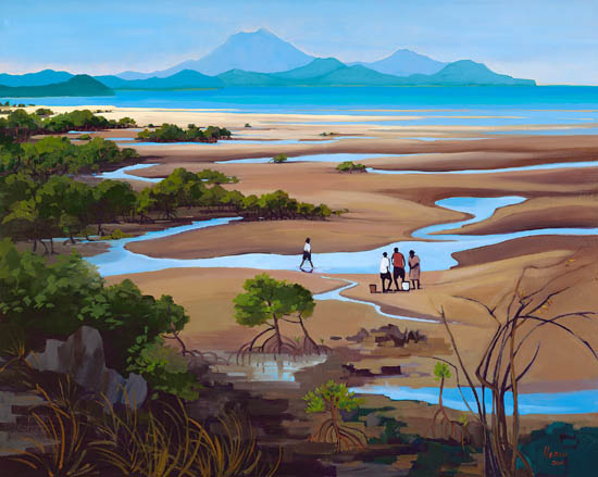 Aboriginal family gather mussels at  low tide, Yule Point, near Port Douglas.
