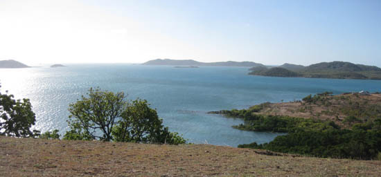 Looking north across turquoise ocean to other islands from Lookout Hill.