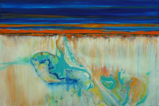 Low Tide Sunrise, mixed media on canvas