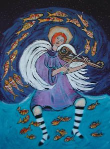 Terry Johnson - painting of an angel playing the violin as fish dance around her.