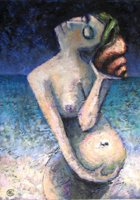 'Vessica Sought' painting - naked, pregnant womal holds a shell to her ear, the other hand over her unborn child.