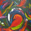 another brightly coloured painting of birds completes the quadtych.
