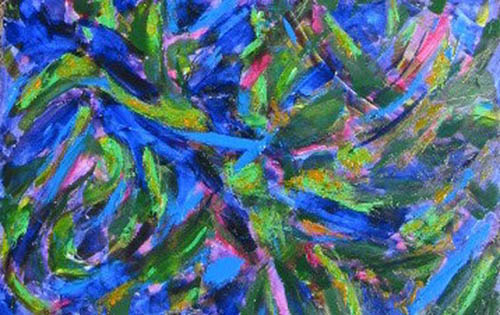 Abstract painting in blue
