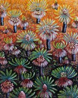 'Cycads Emerging From the Ashes', linoprint by Anna Curtis
