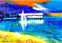 Painting of yachts near the old sugar wharf in Port Douglas