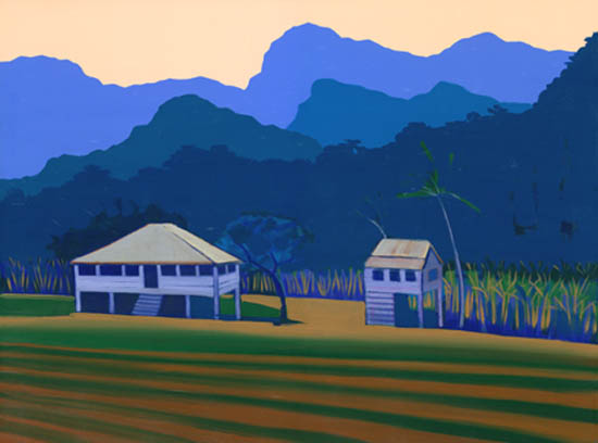 Sugar plantation house with cane cutter's cottage, both on stilts in 'Queenslander' style.