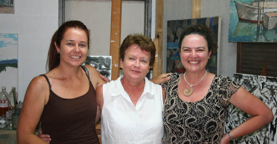 Mary Ann with camera crew Amelia and Sophia, during a break in filming in her studio.