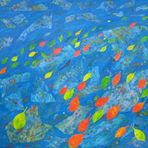 'From the Islands' collage/painting uses silk, paper, dyes and acrylic paint