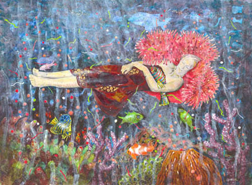 Coral Reef Dreaming, collage of Great Barrier Reef scene, woman floating amongst spawning coral