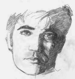 Doug Boomhower pencil sketch of man's head, wistful expression, face shaded one side