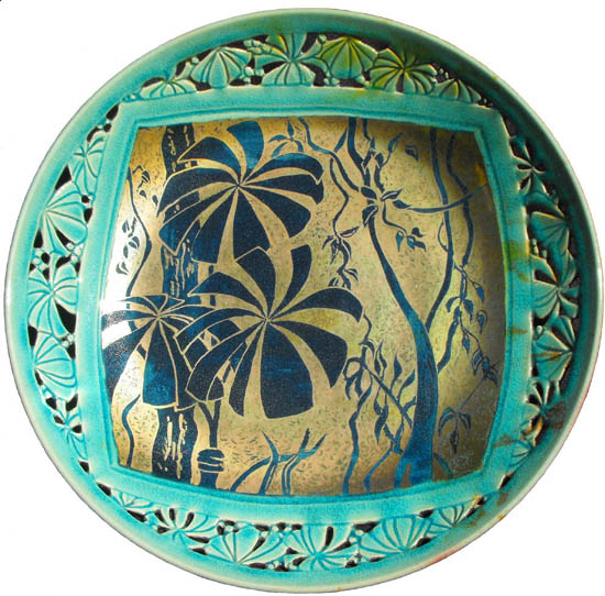 Round stoneware plate, Fan Palm Tangle by Ellen Terrell.