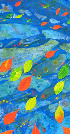 Detail from Jill Booth collage painting 'From the Islands' shows colourful mangrove leaves floating on an outgoing tide.