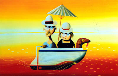 Painting of Ted, Bertha and dog in their dinghy, parasol open against the orange sky and sea.