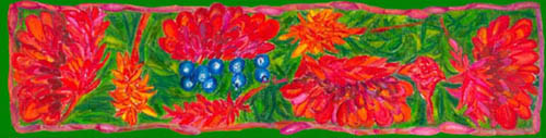 Red ginger design on pure silk scarf by Jill Booth