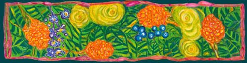 Yellow and orange beehive gingers predominate in this tropical ginger flowers scarf