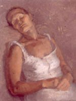 Sleeping woman reclines - oil painting in soft pinks and flesh tones