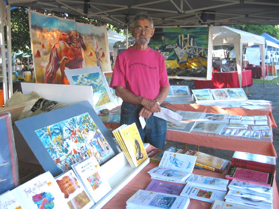 Ron Edwards at his stall under the banyan tree at the Port Douglas markets