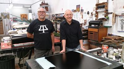 Theo Tremblay, left and Terry Johnson at 'Litho Friday' Workshop