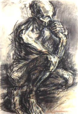 Ink and charcoal sketch of male figure - Mary Ann Runciman
