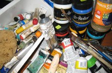 artists' paints, oil paint sticks and brushes