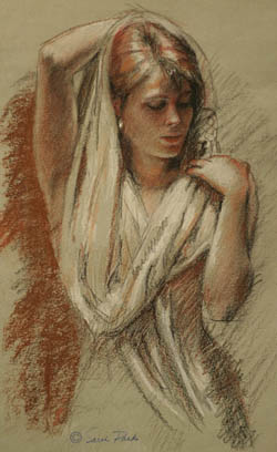 'The Shawl' conte and pencil drawing by Sarah Parks