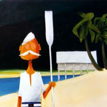 Painting of Ted Banfield holding an oar