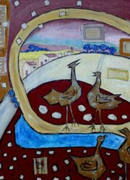 Two birds chatting, farmland in the background - painting by Terry Johnson