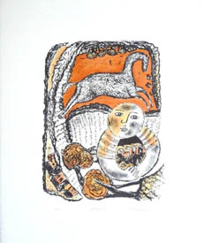 'Embrace', hand coloured lithograph in soft oranges