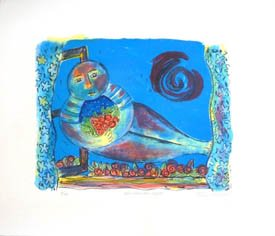 'Mid Summer Night', multi coloured lithograph, blues and bright reds