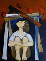 Child hides under a table while broken crockery crashes around her - acrylic painting
