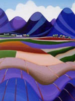 Landscape - rolling purple and blue hills - acrylic painting