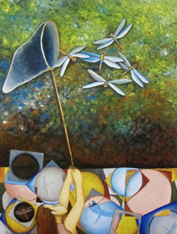 Yoshiko Kirby 'Catching Dragonflies' acrylic, canvas