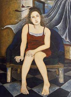 Yoshiko Kirby 'Girl with Red Dress' - acrylic,