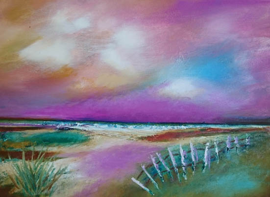 Oil painting of setting sun over the ocean - pink sky